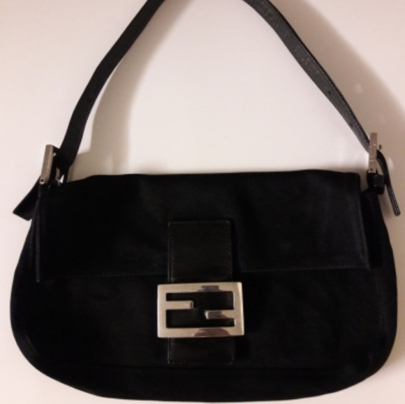 Fendi Handbags - Authentic FENDI Black Fabric Mama Baguette Bag eafe57efd0793